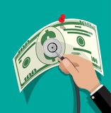 Check the financial stability. Hand with medial stethoscope and big dollar banknote. Check the financial stability. Vector illustration in flat style Stock Image