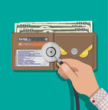 Check the financial stability. Hand with medial stethoscope and leather wallet with dollar cash, coins, bank cards. Check the financial stability. Vector Stock Images