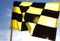 Check flag. Yellow & Black check flag at a Golf Driving Range Royalty Free Stock Photography