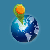 Check in Global world navigator Stock Images