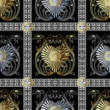 Check greek key vector seamless pattern. Black modern background. With gold silver radial love hearts, vintage flowers, leaves, swirl lines, checkered greek key Royalty Free Stock Images