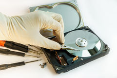 Check hard disk drive by hand Royalty Free Stock Photo