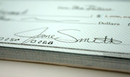 Check I. Signature on Check royalty free stock photography