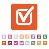 The check icon. Checkmark and checkbox, yes, voting symbol. Flat Stock Photography