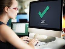 Check Icon Correct Element Next Concept. Woman using computer check graphic stock image