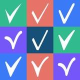 Check icon. Check mark button in white on a colored background Stock Photo