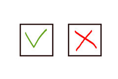 Check icon yes no cross mark on white vector illustration