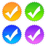 Check icons. Colorful tags with 'checked' symbol Stock Image