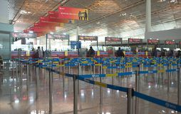 Check-in  in the interior of the airport. China`s largest airport is the Beijing Capital Airport。. Check-in Stock Image