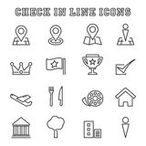Check in line icons Stock Image