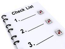 Check list. An illustration of a check list Stock Images