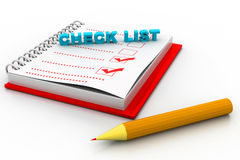 Check list. 3d illustration of check list Royalty Free Stock Image