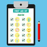 Check list First aid kit  on the paper. Medical equipment and medications for informativeness.vector illustration Stock Image