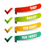Check list GMP HACCP ISO 9001 and 14001 Stock Image