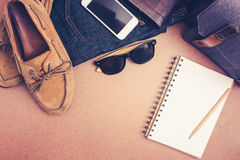 Check the list before go travel ,clothing and accessorieson on w Stock Image