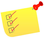Check list on note. With red thumb tack Royalty Free Stock Photo