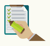 Check list notepad and highlighter mark vector Stock Images