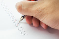 Check list in red mark Stock Photos