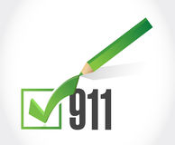 911 check list sign concept illustration. Design over white Royalty Free Stock Images
