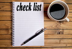Check list word. On notebook Royalty Free Stock Photos