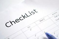 Check-Listen-Form Lizenzfreie Stockfotografie