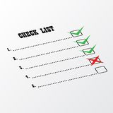 Check-Listen-Perspektive Stockfotos