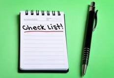 Check-Listen-Wort Stockfotos