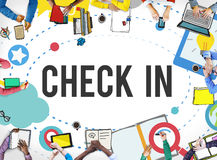 Check in Location Navigation Position Place Concept Stock Photos