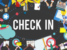 Check in Location Navigation Position Place Concept Royalty Free Stock Images