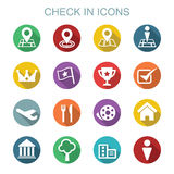 Check in long shadow icons Stock Photo