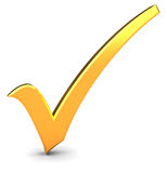 Check mark. 3d illustration of golden check mark over white background Royalty Free Stock Photo