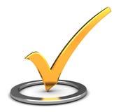 Check-mark. Abstract 3d illustration of golden check-mark in circle Stock Photos