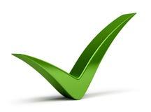 Check mark. Green check mark. 3d image. White background Stock Photo