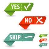 Check Mark. Collect Sticker with Yes, No and Skip Check Mark, isolated on white, vector illustration vector illustration