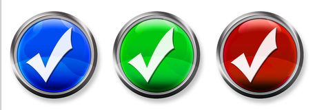 Check Mark 3-D RGB Button Stock Photography