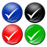 Check mark. Illustration of a check mark button in four colors Stock Photo