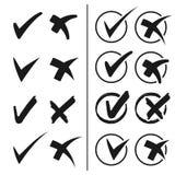 Check mark black simple symbols, circular buttons Royalty Free Stock Photos