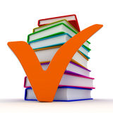 Check Mark and books Stock Image