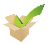 Check mark box cardboard. illustration Royalty Free Stock Images