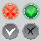 Check mark buttons. Color variants and black white variants Stock Photos