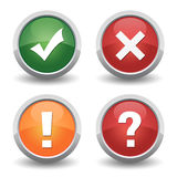 Check mark cancel question badge set Stock Images