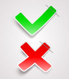 Check mark and cross paper signs. Green check mark and red cross paper signs vector illustration