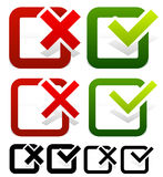 Check mark and Cross Set Stock Images