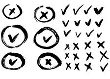 Check mark and cross signs. Brush strokes, vector, isolated stock illustration