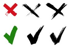 Check mark and cross signs. Brush strokes, vector, isolated vector illustration