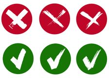 Check mark and cross signs. Brush strokes, vector, isolated royalty free illustration