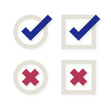 Check mark and crosses. Yes and No icons Stock Photo