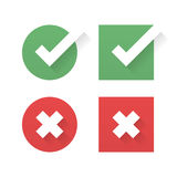 Check mark and crosses. Yes and No icons Royalty Free Stock Photos