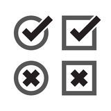 Check mark and crosses. Yes and No icons Royalty Free Stock Photography