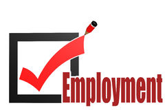 Check mark with employment word Stock Photography